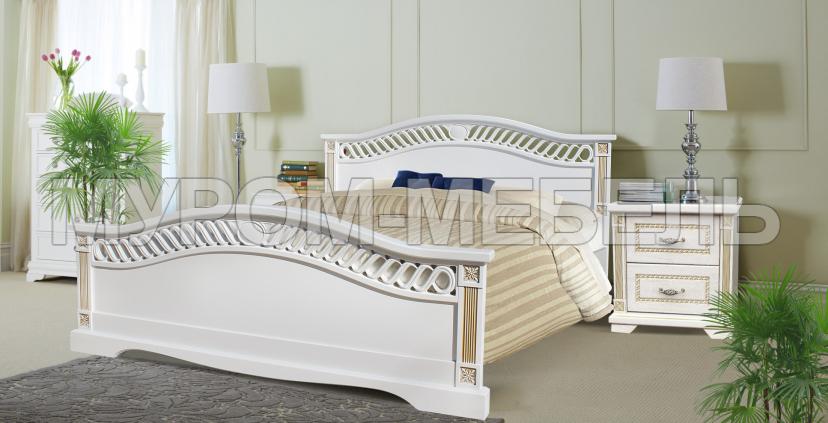 Здесь изображено Кровать Милена (сосна, резьба береза)