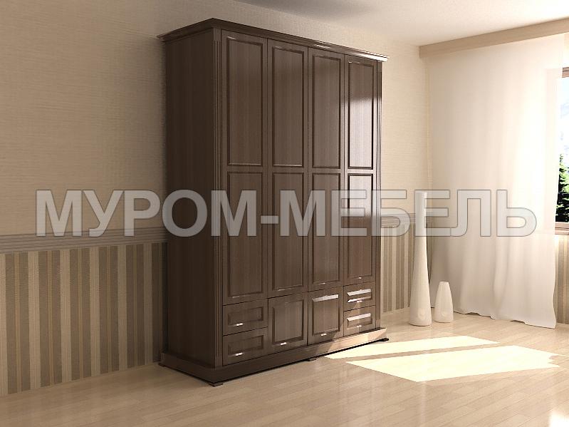 Здесь изображено Шкаф четырехстворчатый с нижней антресолью из серии