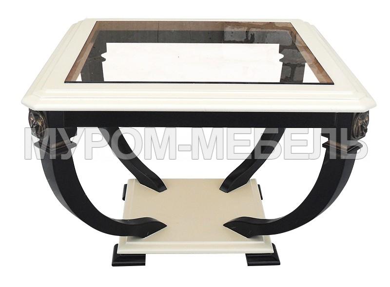 Здесь изображено Стол Лев-1 со стеклом из березы