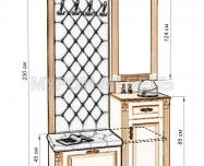 Здесь изображено Стеновая панель с зеркалом и тумбой 2 из серии