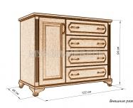 Здесь изображено Комод 4 ящ. с дверкой из серии