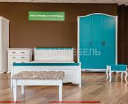 Здесь изображено Кровать Прованс Скай (белая эмаль + бирюзовая эмаль RAL 5018)