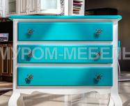 Здесь изображено Комод Прованс Скай (белая эмаль + бирюзовая эмаль RAL 5018)