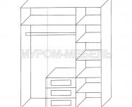 Здесь изображено Шкаф 3-створчатый из сосны из серии
