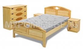 Здесь изображено Полутороспальная кровать Галатея из дуба