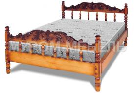 Здесь изображено Кровать Точенка Глория (резьба объемная №1)