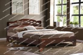 Здесь изображено Кровать Вирсавия (сосна, резьба береза) из дерева