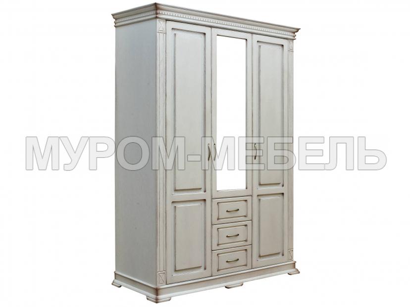 Здесь изображено Шкаф 3-х створчатый Флоренция Слоновая Кость