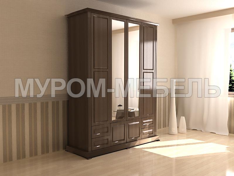 Здесь изображено Шкаф четырехстворчатый с зеркалом из серии