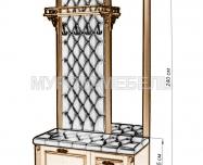 Здесь изображено Стеновая панель с зеркалом и тумбой 3 из серии