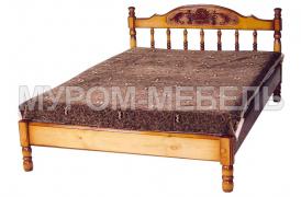 Здесь изображено Кровать-тахта Точенка Глория (резьба шапкой) из сосны