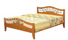 Здесь изображено Кровать Алиса (ковка) из дерева