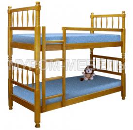 Здесь изображено Кровать двухъярусная Детская точеная  из сосны