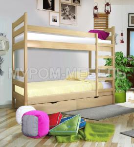Здесь изображено Кровать двухъярусная Классика 1 из сосны