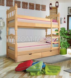 Здесь изображено Кровать двухъярусная точеная из сосны