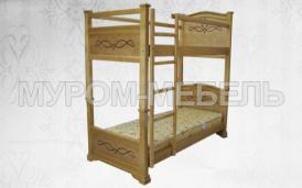 Здесь изображено Кровать двухъярусная Соната из сосны