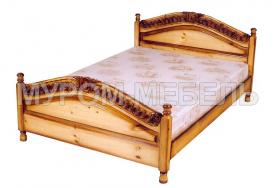 Здесь изображено Кровать Горка (резьба-спираль) из сосны