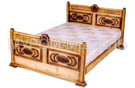 Здесь изображено Кровать Греческая резная из сосны