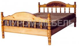 Здесь изображено Кровать Точенка Глория (резьба шапкой)  из сосны