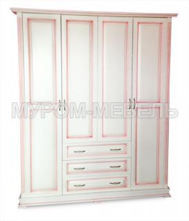 Здесь изображено Шкаф четырехстворчатый со встроеннным комодом (розовая патина) из серии